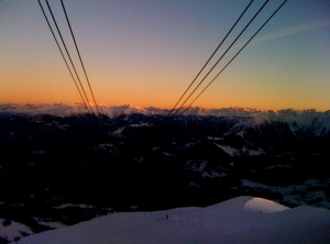 sunset in laax