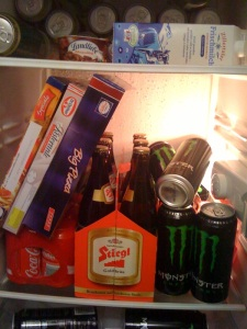 Ready for a night of editing...Beer, Monster, Pizza, coke...